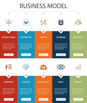 Business model infographic 10 option ui design.strategy, teamwork, marketing, solution simple icons