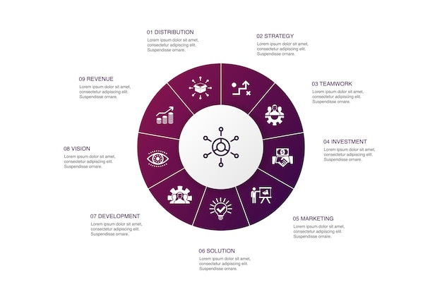 Business model infographic 10 steps circle design.strategy, teamwork, marketing, solution simple icons