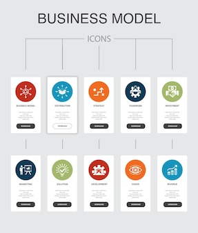 Business model infographic 10 steps ui design.strategy, teamwork, marketing, solution simple icons