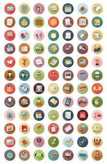 Business modern flat vectors icons collection,