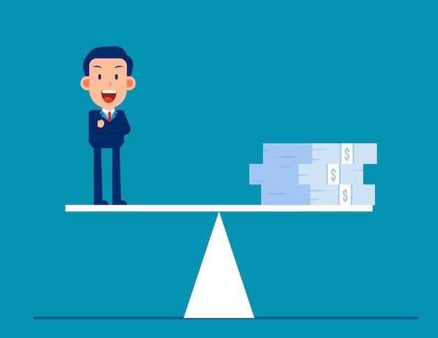 Business money on balance scale