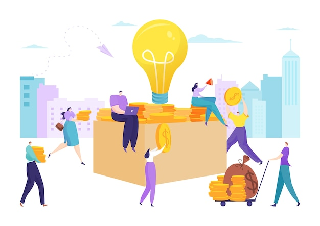 Business money investment and crowdfunding coin in box illustration
