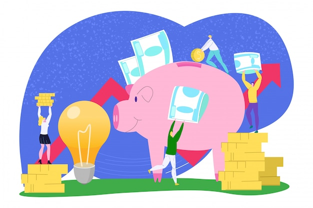 Business money saving,  financial coin  illustration. man woman people bank investment for cartoon idea, income concept. success cash economy in pig, teamwork profit .