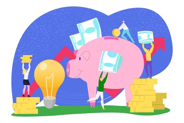 ビジネスのお金を節約、金融コインのイラスト。男性女性人銀行漫画のアイデア、収入概念の投資。豚の成功現金経済、チームワークの利益。