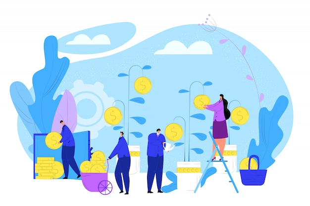 동전, 일러스트와 함께 비즈니스 머니 트리입니다. 만화 금융 투자 개념, 금융 공장 사람들이 문자. 부 성장 이익, 성공 통화 수입 및 경제.