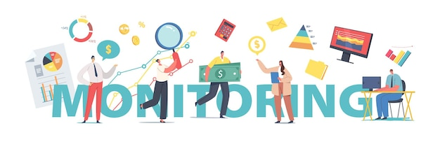 Business monitoring, analysis concept. managers characters analyze information, people analysing graphs. team optimization, work improve process poster, banner or flyer. cartoon vector illustration