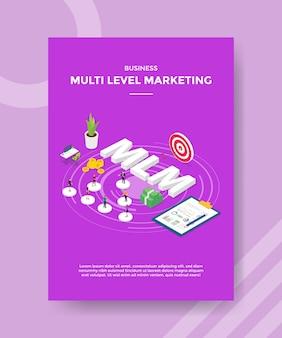 텍스트 mlm 차트 보드 대상 돈 주위에 원형 모양에 서있는 비즈니스 멀티 레벨 마케팅 사람들