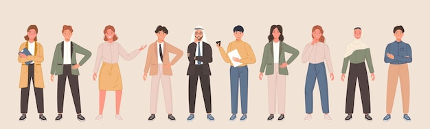 さまざまなポーズのビジネス多国籍キャラクターチーム多様なサラリーマンの人々が立っている