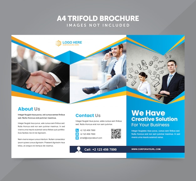 Business multipurpose a4 trifold brochure vector template