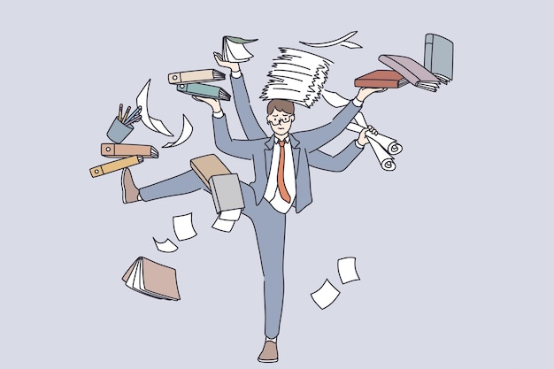 Business multitasking and time management concept