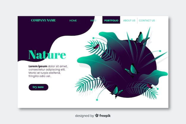 Business nature landing page