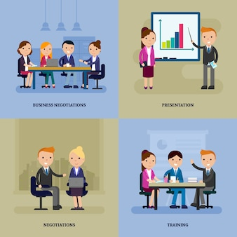 Business negotiation flat template