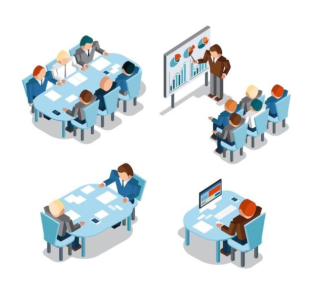 ビジネス交渉とブレーンストーミング、分析、創造的な事務作業。アイデアと人、場所と忙しい、管理ビジネスマンが働いています。