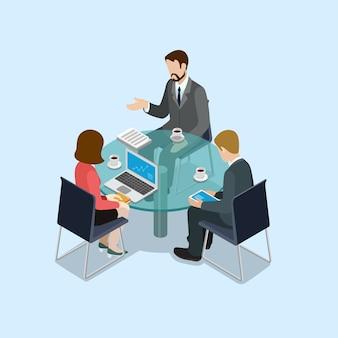 Концепция деловых переговоров плоская 3d веб изометрическая