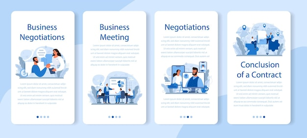 비즈니스 협상 모바일 응용 프로그램 배너 세트입니다. 사업 계획 및 개발. 미래의 비즈니스 파트너십, 브레인 스토밍 또는 팀 작업 프로세스.