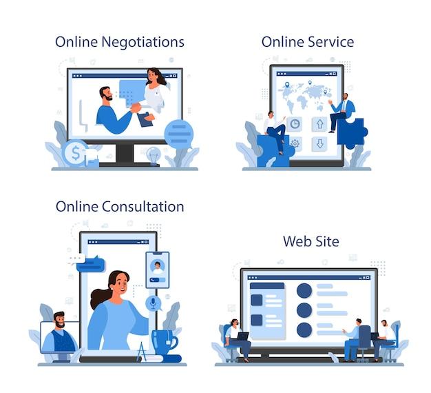 Набор онлайн-сервисов деловых переговоров или платформы. бизнес-планирование и развитие. будущее деловое партнерство. онлайн переговоры, консультации, сайт.