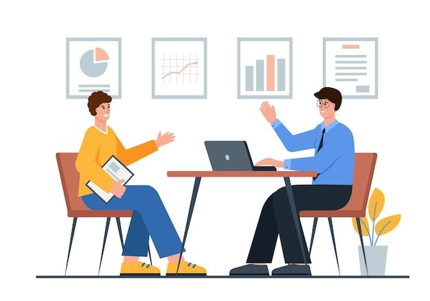ビジネス交渉または就職の面接2人のビジネスマンパートナーが会議で取引を行いました