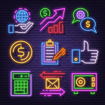 Business neon icon set