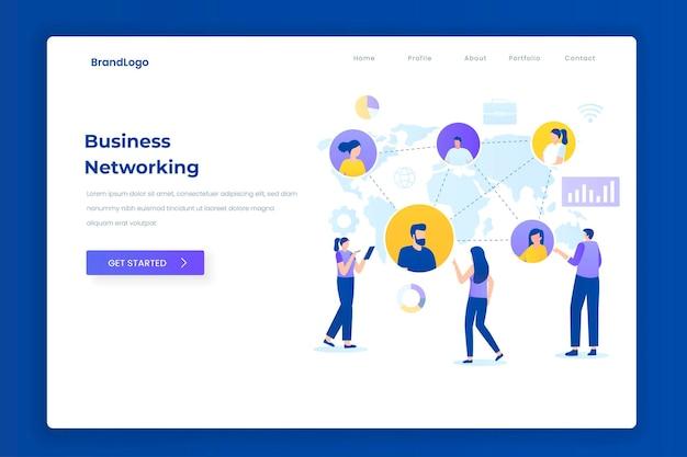 비즈니스 네트워킹 그림 방문 페이지 개념입니다. 웹 사이트, 방문 페이지, 모바일 응용 프로그램, 포스터 및 배너에 대한 그림입니다.