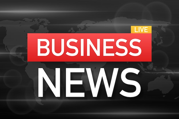Business news live on world map background. vector stock illustration