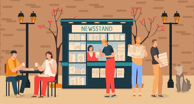 Business news media with people at newsstand reading newspapers information press reports   illustration.