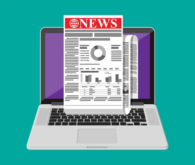 Business news on screen of laptop computer. rolled daily newspaper in internet. online news journal roll. pages with various headlines, images, quotes, text articles. vector illustration flat style