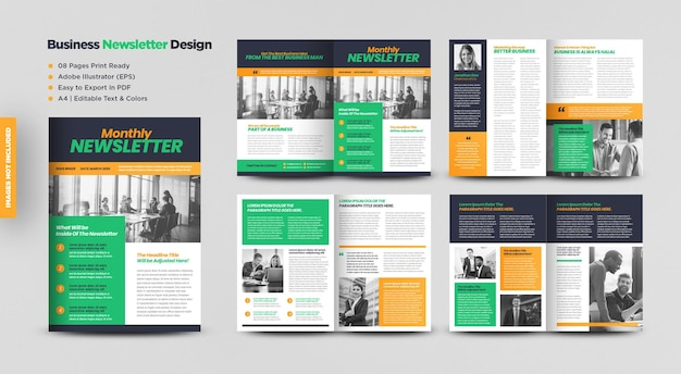 Business newsletter design or journal design and  monthly or annual report design