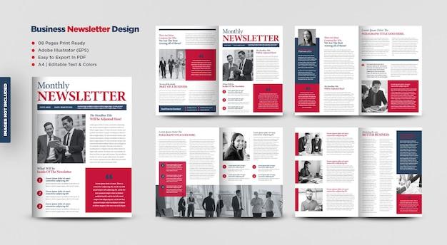 비즈니스 뉴스레터 디자인 또는 저널 디자인 또는 월간 또는 연간 보고서 디자인