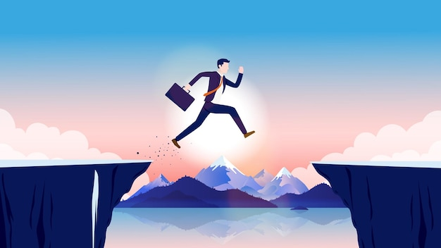 Business obstacle illustration with businessman jumping over dangerous cliff outdoors