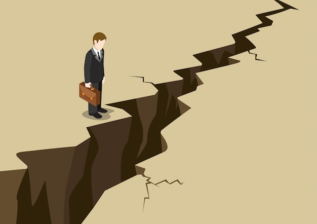 Business obstacle isometric concept. businessman stand before earth ground crack look down illustration.