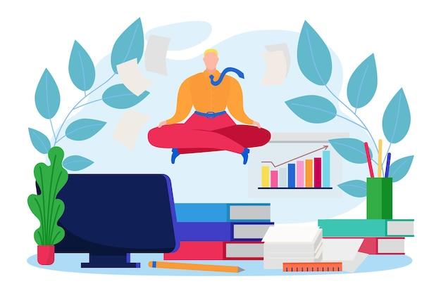 営業所の店員の従業員の瞑想、ビジネスマンのキャラクター会社の書類フラットベクトルイラスト、白で隔離。