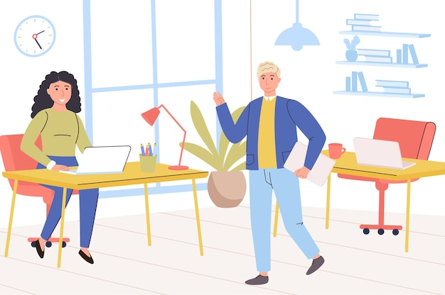 Business office concept happy man and woman colleagues greeting each other employees