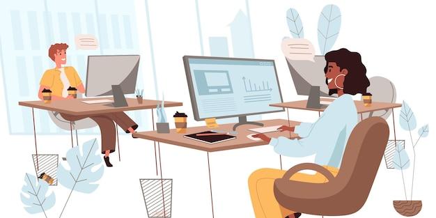 평면 디자인의 비즈니스 사무실 개념입니다. 직원들은 작업에 대해 이야기하고 토론하고, 직장에 앉아 있는 컴퓨터에서 작업하고, 팀워크를 합니다. 동료들은 사무실 사람들 장면에서 의사 소통합니다. 벡터 일러스트 레이 션