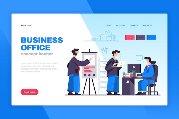 Business office concept web page