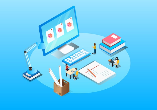 Business office cooperation isometric illustration