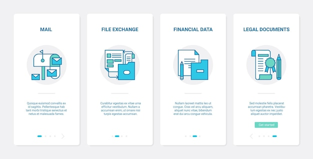 Business office file exchange. ux, ui onboarding mobile app set financial data report storage, legal finance document transfer and management, law contract
