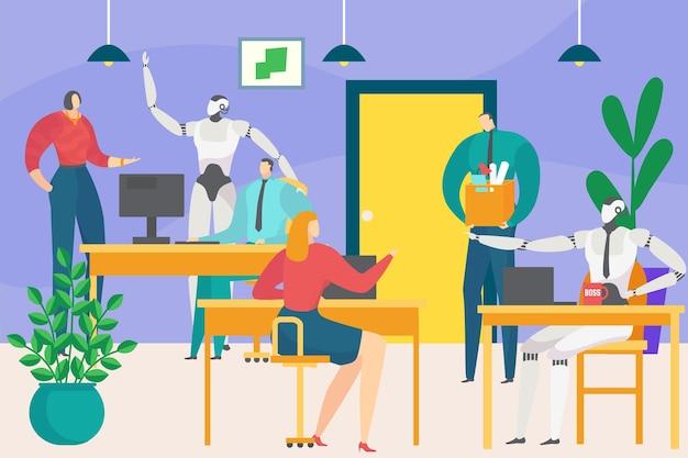 비즈니스 사무실 미래 디지털 기술 인공 지능 로봇은 직원 서기 캐릭터와 함께 작동합니다.