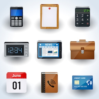 Business and office icons vector set