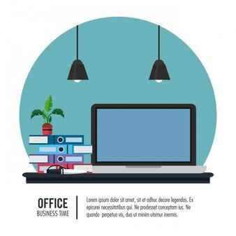 Business office interior banner information