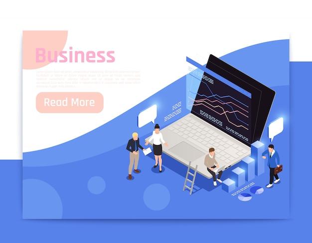 Progettazione isometrica della pagina dell'ufficio di affari con l'illustrazione di simboli di crescita