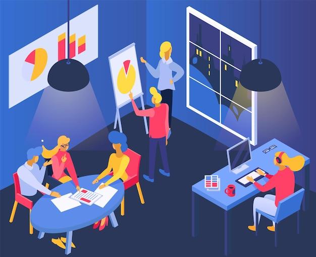 비즈니스 사무실, 아이소메트릭 벡터 일러스트 레이 션입니다. 방에서 팀워크 회의, 테이블 룸에 앉아 있는 평평한 남자 여성 캐릭터, 인포그래픽 보고서를 보여줍니다. 사람들은 회의에서 노트북을 사용합니다.