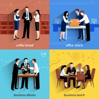 Business office lunch break and coffee pause 4 flat  icons  composition square banner
