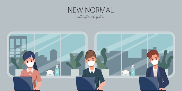ビジネスオフィスの人々は社会的距離を維持します。 covid-19コロナウイルスを停止します。仕事での新しい通常のライフスタイル。