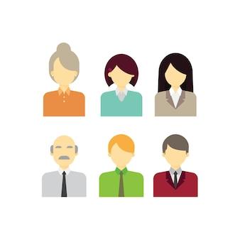 ビジネスオフィスの人々キャラクターアバターセット