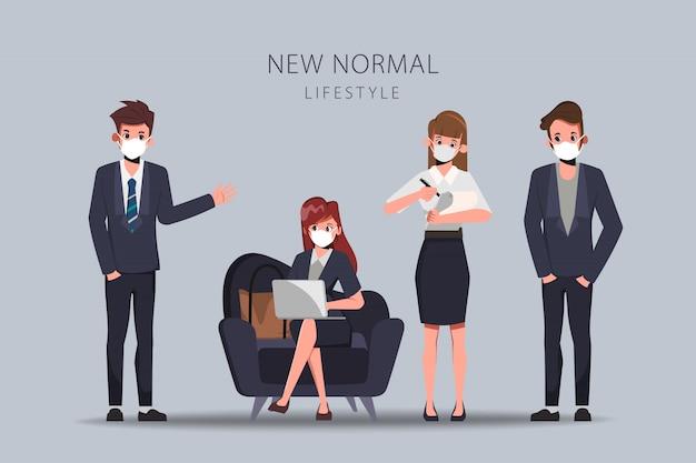 Деловые люди в офисе поддерживают социальную дистанцию и надевают маску. новый нормальный образ жизни.