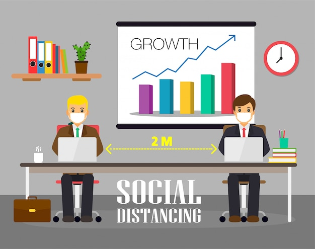 Business office people maintain social distancing. new normal at job working.