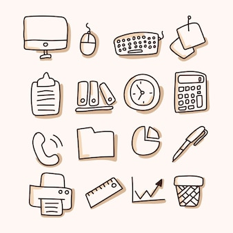 Business, office set of icon. hand draw