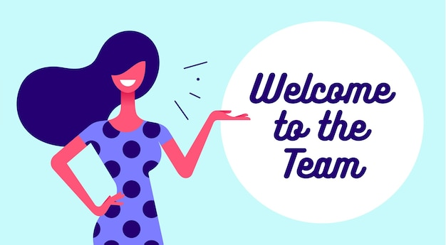 Business office woman with smile, hair, dress speak speech bubble text welcome. simple character of businesswoman