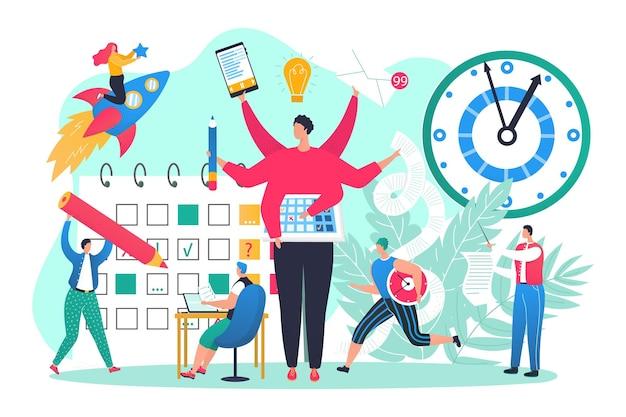 시간 관리, 벡터 일러스트와 함께 비즈니스 사무실 작업. 남자 여자 캐릭터는 회사의 성공을 위해 멀티태스킹 관리자 조수를 사용합니다. 평면 달력, 체크리스트, 시계 및 컴퓨터.