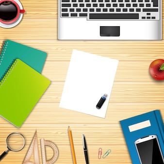 Business office and workplace top view background